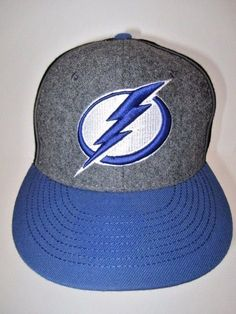 cfd3245409c46 Tampa Bay Lightning Zephyr Black Gray Wool Blue Bill Snapback Hat NHL Size  7 1 4