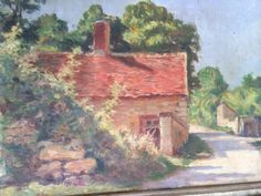French  painting G.Moroge 1920. French village. by Albanegalery