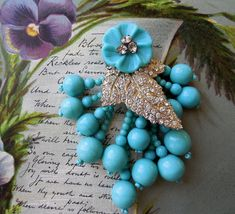 MIRIAM HASKELL Turquoise Bead & Rhinestone by CornermouseHouse