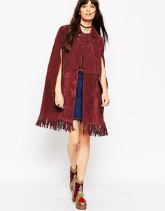 Image 4 ofASOS Cape in Suede with Fringe Detail