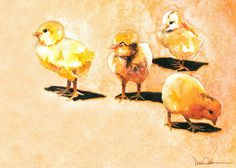 Baby Chicken Art Chick Babies 11x14 Signed and by DonshanArt,
