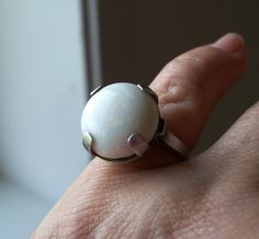 Vintage Art Deco Opal Ring Sterling Silver Huge Stone Unusual Size 7