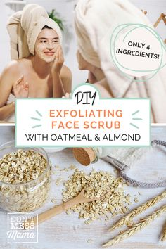 Switching to a natural skin care routine? You will LOVE this exfoliating face scrub for glowing skin. Made using just 4 ingredients this natural face scrub is perfect for all skin types and will leave your skin nourished & soft. #DIYfacescrub #naturalskincare #facescrubforglowingskin #exfoliatingfacescrub