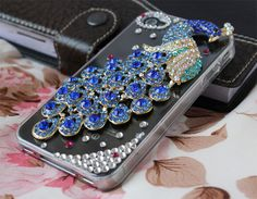 iphone 4 cases,diamond iphone 4s cases,Crystal transparent  iphone case 4 with blue peacock. $19.99, via Etsy.