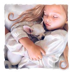 Anna and dog. Portrait of a child. Steele digital от LayannaArt Цифровой портрет ребенка выполненный по фотографии. нарисовано от руки по фото.