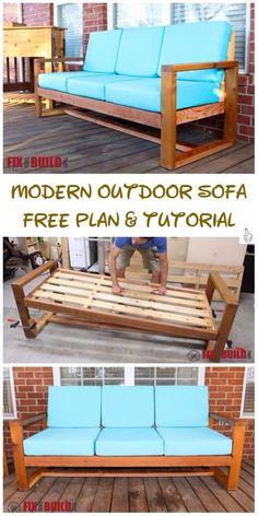 DIY Outdoor Seating Projects Tutorials - DIY Modern Outdoor Sofa Tutorial