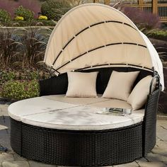 Devoko Round Daybed with Retractable Canopy & Washable Cushions, Wicker Rattan Furniture Sets, All-Weather Separated Seating Sofa for Outdoor Patio Lawn Garden Backyard Porch Pool (Beige) Daybed Sets, Daybed Canopy, Outdoor Daybed, Patio Loveseat, Patio Chairs, Outdoor Sofas, Outdoor Spaces, Outdoor Living, Outdoor Office