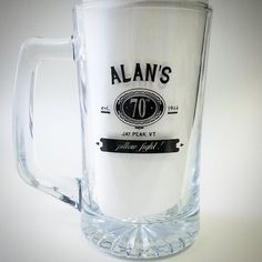 Glassware printed for a Customised glasses make for a great party favor, giveaway, or gift. Also perfect for a wedding or anniversary! Beer Stein, 70th Birthday, Tgif, Craft Beer, Brewery, Whiskey, Party Favors, Giveaway, Anniversary