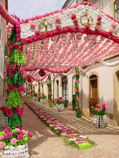 Street decorated for the Festa dos Tabuleiros in Tomar, Portugal