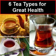 6 Tea Types for Great Health. Did you know that tea is the most consumed beverage in the world after water? Yet the huge variety of teas available at your local supermarket can be very confusing for the average person: black tea, green tea, oolong tea, rooibos tea, jasmine tea and much more. When you want to know what to buy, you need first of all to understand the main tea varieties, the differences between them, and their main health benefits.