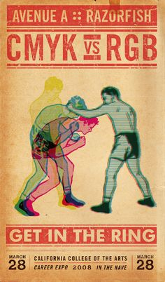 CMYK vs RGB as a boxing match poster.