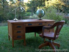 Goodwill found teacher's desk makeover by virginiasweetpea.com