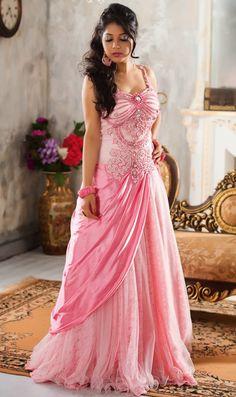 USD 179.94 Light Pink Georgette Designer Party Wear Gown 43528