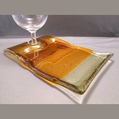 Yellow Fusion  Fused Glass Wine & Dine Plate by PattyMelts