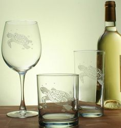 One of our most popular designs for coastal barware, these hand-etched whimsical Sea Turtle large 19 oz. wine glasses are the perfect gift for any beach lover!