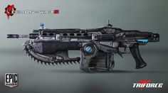 Gears of War Lancer One of the best fictional weapons created for games. If this ever becomes a standard issue military weapon my advice just RUN!
