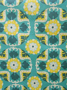 Forsyth Fabrics - Detail floral pattern yellow and white on aqua turquoise teal