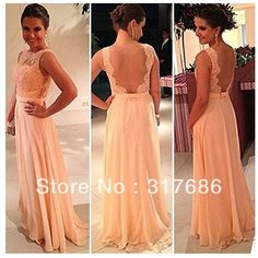 Free shipping!High quality nude back chiffon lace long peach color bridesmaid dress brides maid dress-in Bridesmaid Dresses from Apparel & A...