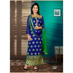 Attractive Designer Blue And Green Salwar Suit