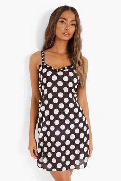 Polka Dot Frill Trim Strappy Slip Dress | boohoo Plain Tees, Straight Dress, Cheap Dresses, No Frills, Dress Collection, Casual Looks, Designer Dresses, Looks Great, Polka Dot