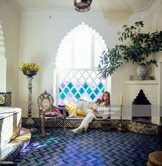 News Photo : Talitha Getty sits in an interior stained glass,... Marrakech, Palestinian Wedding, Talitha Getty, Le Riad, Vogue Photo, Thing 1, Le Palais, Wall Art For Sale, Window Art