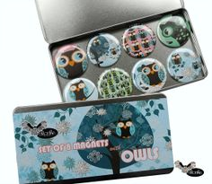 Set of 8 Magnets with Funny Owls illustrations by Sloshe on Etsy, $13.00