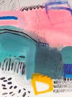 color | pinks + blues + yellow | acrylic paint on paper