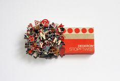 Sculpture constructed from type and old office supply boxes, by Sarah Bridgland