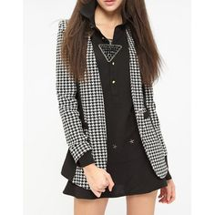 Wholesale Houndstooth Print Color Block Long Sleeve V-Neck One-Button Blazer For Women (AS THE PICTURE,M), Blazers - Rosewholesale.com