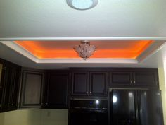 Tired of those ugly fluorescent light tube box fixtures? Pop it up and create a stylish recessed lighting feature! Fluorescent Tube Light, Kitchen Recessed Lighting, Home Projects, Cottage, Layout, Ceiling Lights, Tired, Kitchen Remodeling, Pop