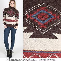 vtg-Ralph-Lauren-Hand-Knit-Native-Indian-Southwestern-Blanket-Serape-Sweater