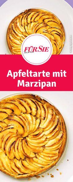 Rezept für Apfeltarte mit Marzipan European Dishes, Almond Paste, Deserts, Food And Drink, Cooking, Recipes, German, Cakes, Drinks