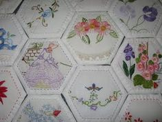 pretty hexagons using vintage doilies