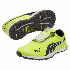 Puma BIOFUSION Spikeless Mesh Golf Shoes for Men. Gone are the days of lightweight shoes filling with water and sand during play, the Puma BIOFUSION Spikeless Mesh allow for maximum airflow enhanced by the odor-resistant OrthoLite sock liners to keep your feet cool and dry while keeping the elements out. Slow recovery memory EverFoam and Cell Cage technologies combine to provide a custom fit with maximum support and flexibility.