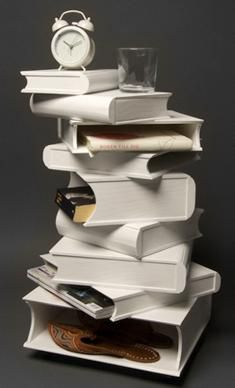 pile of books nightstand. That's interesting!