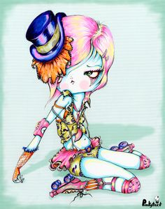 Blue; top hat tutu roller derby pinup girl/Roller Derby Girl in Top Hot: pinkytoast.jpg