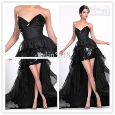 NEW! 2013 Sexy Sweetheart Dresses Black High Low paillette Chiffon Party Evening Prom Ball GownDress