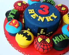 super hero cake with cupcakes - Google Search