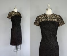60s black ribbon illusion dress / size extra small - small