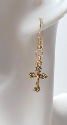 Cross Earrings in Gold Plated Pewter by ShadowoftheCross on Etsy