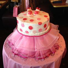 I love the idea of a tutu around the bottom of the cake for a little girl's party :)