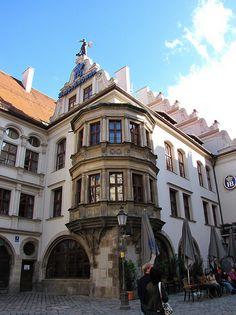 Hofbrauhaus Beer Hall  Munich, Germany. Drank here and Rob smashed the hidden beer mugs!! the girls carry 6 at a time.