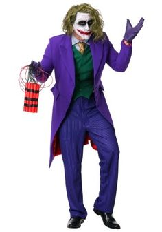 Grand Heritage DC Comics The Joker Costume. This officially licensed costume includes a long purple jacket, pinstripe-patterned pants, green vest. Joker Halloween Costume, Couples Halloween, Last Minute Halloween Costumes, Group Halloween, Halloween 2018, Funny Halloween, Halloween Outfits, Halloween Halloween, Halloween Makeup