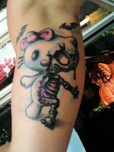 What happened to Hello Kitty? #InkedMagazine #HelloKitty #cute #girly #tattoo #tattoos #zombie