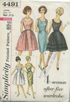 An original ca. 1962 Simplicity Pattern 4491.  Dress has round neckline and back zipper closing.  V. 1 has short faced set-in sleeves.  V.1, 2 and 3 have gathered skirt with pleat each side of center front.  V. 2 has heavy lace band trim.  V. 3 has contrasting skirt.  V.2,3,4 and 5 are sleeveless.  V.4 and 5 have slim skirt.  Self belt with bow or a purchased belt may be worn.