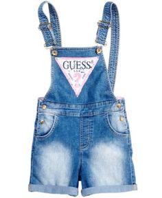 80bee43b9466 GUESS Logo Denim Overall Shorts, Big Girls (7-16) & Reviews - Dresses -  Kids - Macy's