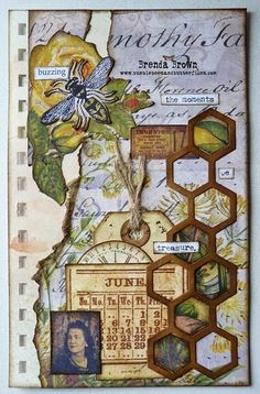Brenda Brown mixed media journal page bumblebeesandbutterflies Mixed Media Journal, Mixed Media Collage, Collage Art, Collages, Art Journal Pages, Art Journals, Altered Books, Altered Art, Bullet Journal