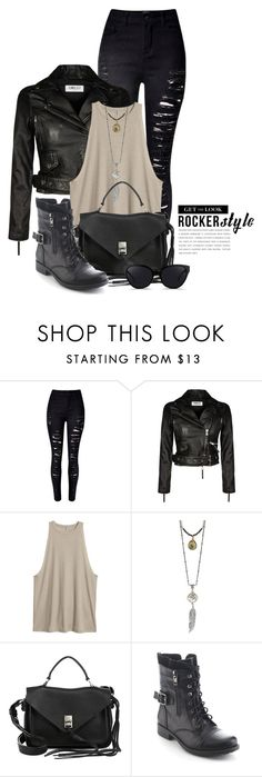 """Rocker Chic 1940"" by boxthoughts ❤ liked on Polyvore featuring WithChic, Rebecca Minkoff, Refresh, 3.1 Phillip Lim, rockerchic and rockerstyle"