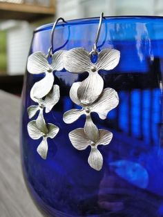 Silver Orchid Trio Earrings - delicate cascade - gift, Christmas, birthday…