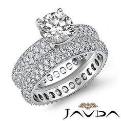 Halo-Eternity-Bridal-Set-Round-Diamond-Engagement-Ring-EGL-G-VS1-Platinum-4-8-ct